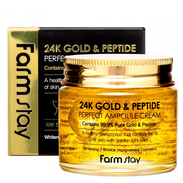Крем для лица 24K Gold & Peptide Perfect Ampoule Cream 80 мл Farmstay